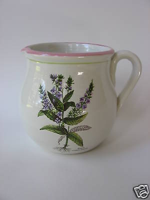 Hand Crafted Pottery Pitcher Italy Botanical Veronica