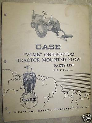 Case Vcmb 1 Bottom Mounted Plow Tractor Parts Catalog