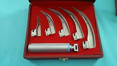 Set Of 5 Laryngoscope Macintosh Mac Intubation Blades + Medium Handle Anesthesia