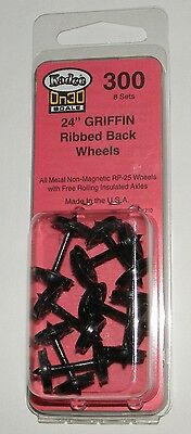 """Kadee On30 scale #300  24"""" Griffin RP-25 metal wheel sets (8) ~ New"""