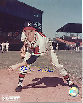 WARREN SPAHN  MILWAUKEE BRAVES    ACTION SIGNED 8x10