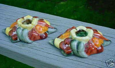 FRUIT CANDLESTICKS colorful FULPER POTTERY!
