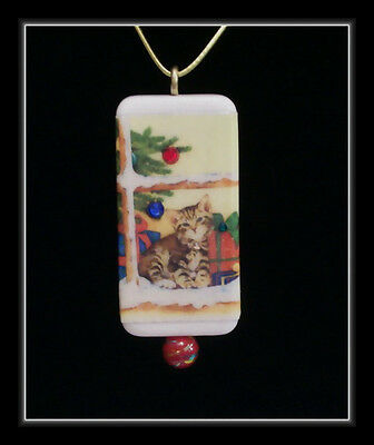 Kitten In The Window With Packages - Domino Pendant