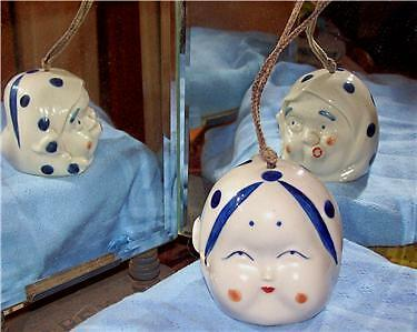 """TWO FACED (HE - SHE) CERAMIC BELL HAND PAINTED 2.5"""" Sq"""