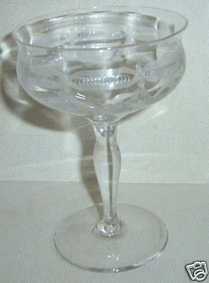 Tiffin Stem 14199 Champagne Sherbert Needle Etched Swag