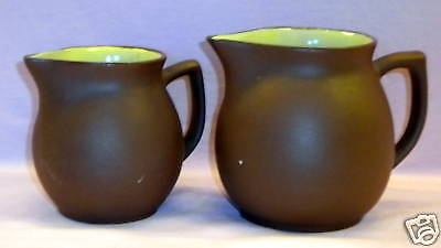 PIGEON FORGE POTTERY 2 BROWN & YELLOW PITCHERS VINTAGE