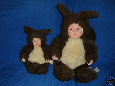 Anne Geddes Squirrel Doll Lot 2 Pcs 1998