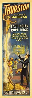 1920s Thurston the Great Magician Poster - Indian Magic Rope Trick - 8x24