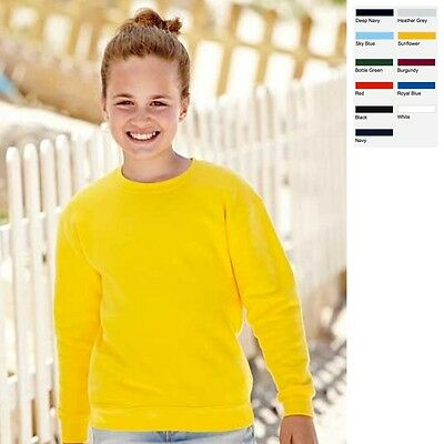 Fruit of the loom Kinder Sweatshirt Set-In Kids Sweat 80/20 11 Farben 104-164