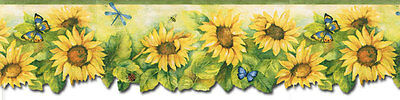 Sunflower Butterfly Ladybugs Wallpaper Border Fk72636dc