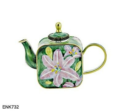 Art Gifts Enamel Copper Hand painted Mini Small Teapot Lily Butterfly Flower