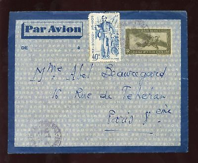 VIETNAM 1940 AIRMAIL STATIONERY UPRATED 40c to FRANCE