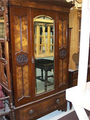 Early 1900's Carved Walnut Wardrobe / Armoire  (DR58)