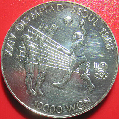 1987 KOREA SOUTH 10000 WON 1oz SILVER WOMEN VOLLEYBALL 40mm CROWN (hair lines)