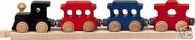 5pc WOODEN TRAIN SET- ENGINE 2 TROLLEYS CABOOSE TRACK