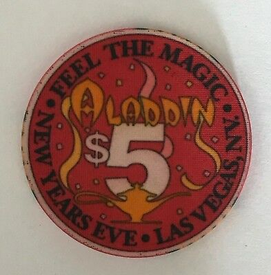 Aladdin $5 Casino Chip Las Vegas Old New Years Eve Feel The Magic Lamp