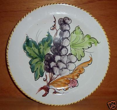 Italy 27 / T White Plate Yellow Brown Trim w Grapes