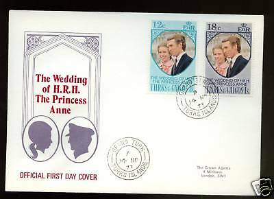 Turks & Caicos Is. 1973 Royal Wedding FDC
