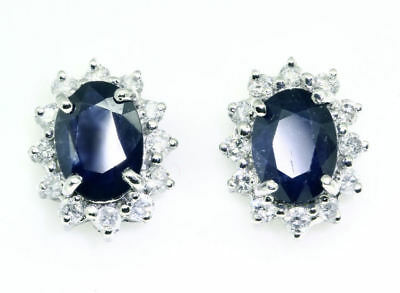 Sparkling 2.5ct Diamond &Sapphire Earrings in 14K Gold