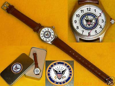 USN WATCH Leather Strap UNITED STATES NAVY New in Box