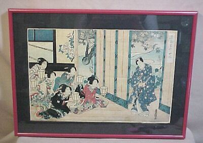 Antique Japanese Block Art Print Geisha Samauri Warrior
