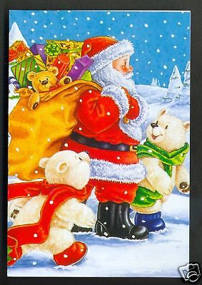 Santa Claus Father Christmas Bears Gifts