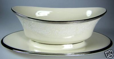 Lenox Moonspun Gravy Boat with Attached Stand