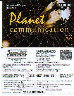 Usata - Planet  Communication - Lire 10.000 - Vedi Foto