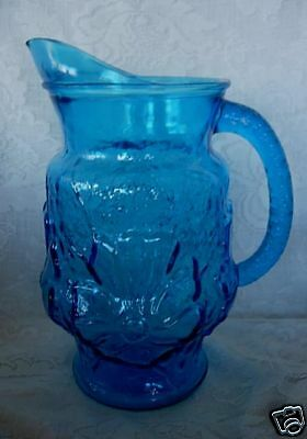 Gorgeous Vintage Turquoise Blue Daisies Pressed Glass Water Pitcher