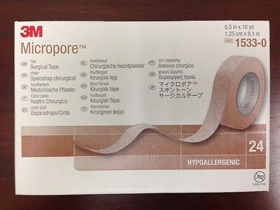 """3M Micropore surgical tan tape 1/2"""" x 10 yards  24/bx #1533-0 New in sealed box!"""