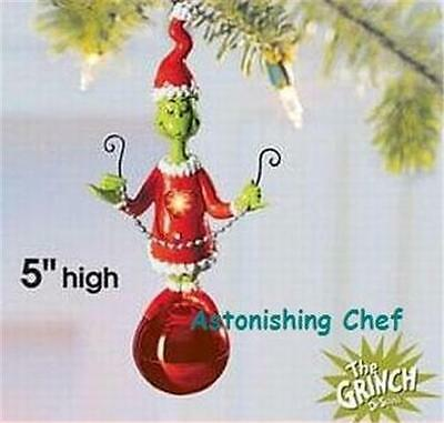Dr Seuss The Grinch Light Up Ornament Collectible New