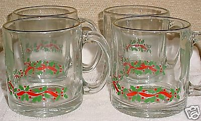 Arby's Holly Berries 4 Cups Mugs VGC Holiday Libbey Made in USA Christmas