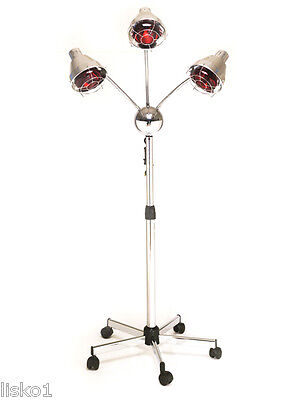 Pibbs TL931 3-HEADED  HAIR COLOR PROCESSING  HEAT LAMP ON STAND W/WHEELS