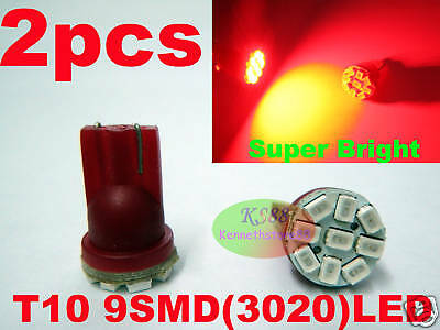 2pcs New Super Bright Red 9 SMD LED Wedge 194 T10 168