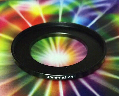 1(One) Black 43mm to 62mm 43-62mm Step Up ADAPTER-Filter Ring M43-F62 METAL