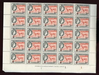 BRIT.VIRGIN Is.1962 BULL 3c on 2c SURCH.SHEET 50 stamps