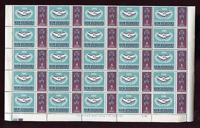NEW HEBRIDES 1965 ICY 5c + VARIETY MINT SHEET 50 stamps