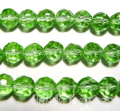 40pc Crystal Glass Round Faceted Beads Light Green 8mm (BF8009)