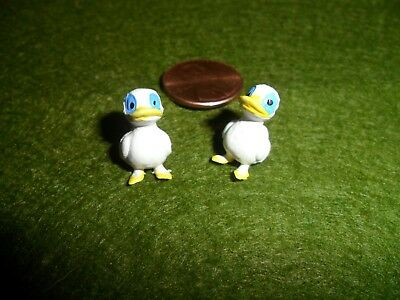 "Vintage Hand Painted White Duck Plastic Miniature 5/8"" x 3/8"" set of 2"