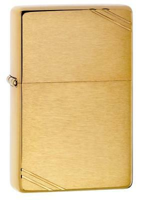 Zippo Vintage Brushed Brass Lighter w/ Slashes 240 NEW