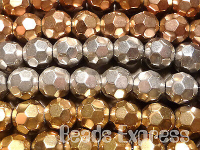 40pc 8mm Crystal Round Faceted Beads Metallic Mix Gold Silver Bronze (BF8016)