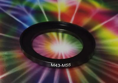 1(ONE) ADAPTER-RING Black 43mm to 55mm 43-55 mm Step Up Filter Ring M43-F55