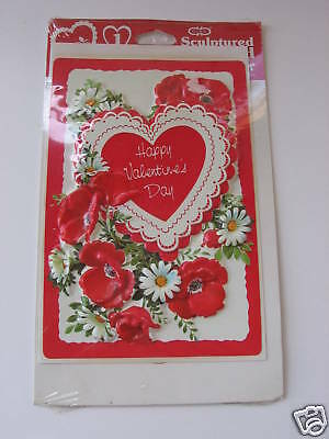 Vintage Cleo Sculptured Valentine Teacher Card Red Rose