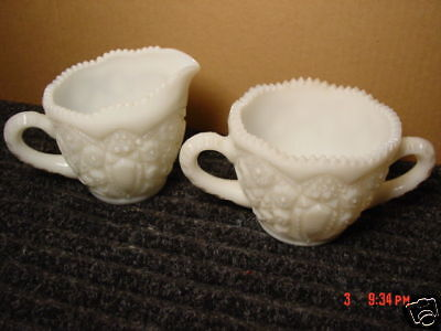 Vintage,Mckee,Glass,Sugar,Creamer,Toltec,Star and Cane