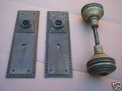 Antique, Brass Door Knobs And Plates
