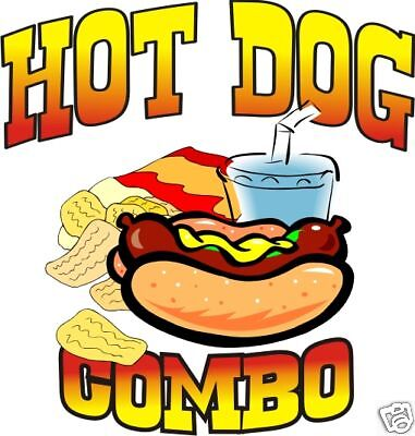Hot Dog Combo Restaurant Concession Cart Food Decal 14""