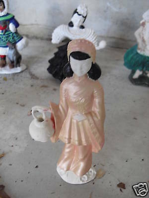 Unique Vintage Chinese Girl w/ Pot Doll Figurine LOOK