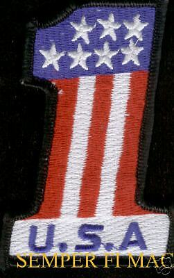 """USA FLAG NUMBER 1 PATCH US UNITED STATES EMBROIDERED 4"""""""