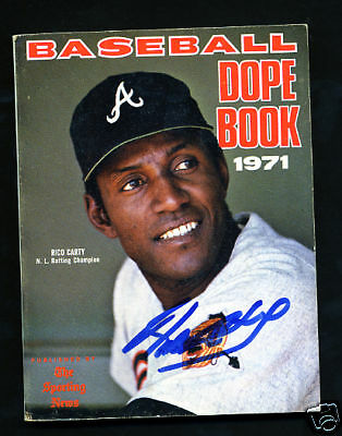 RICO CARTY - Autographed 1971 Baseball Dope Book Braves