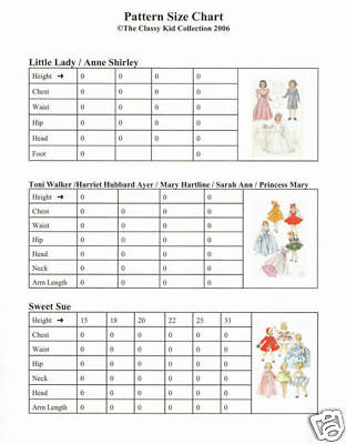Doll Pattern Size Chart for Sewing